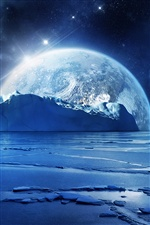 Kalter Winter, blue sea ice, planet iPhone Hintergrundbilder