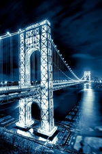 George Washington Bridge, New Jersey, Manhattan, Nacht leuchtet iPhone Hintergrundbilder
