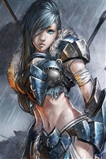 Soldatin in der regen, fantasy girl iPhone Hintergrundbilder