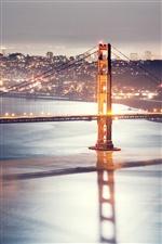 Golden Gate Bridge, San Francisco, Nacht, Lichter iPhone Hintergrundbilder