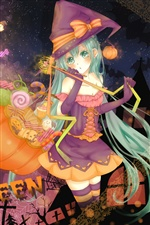Halloween anime girl iPhone Hintergrundbilder