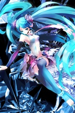 Hatsune anime girl blue hair iPhone Hintergrundbilder