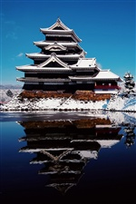 Japan Winter Schnee, Tempel, See iPhone Hintergrundbilder
