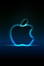 Neon Blue Apple- iPhone Hintergrundbilder
