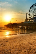 Los Angeles Dock, Strand Sonnenuntergang iPhone Hintergrundbilder