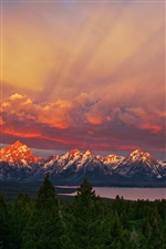 Nationalpark Grand Teton, Wyoming, Sonnenaufgang, Berge, Himmel, See iPhone Hintergrundbilder