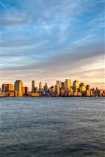 New York, Manhattan, Sonnenuntergang, Meer, Himmel iPhone Hintergrundbilder