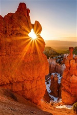 Rote Felsen Berge, Sonne, Bryce Canyon National Park, USA iPhone Hintergrundbilder