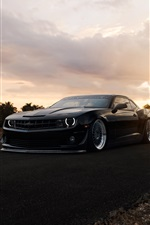 Chevrolet Camaro ZL1 matte black muscle car iPhone Hintergrundbilder