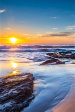 Sonnenuntergang, Meer, Jones Beach, New South Wales, Australien iPhone Hintergrundbilder